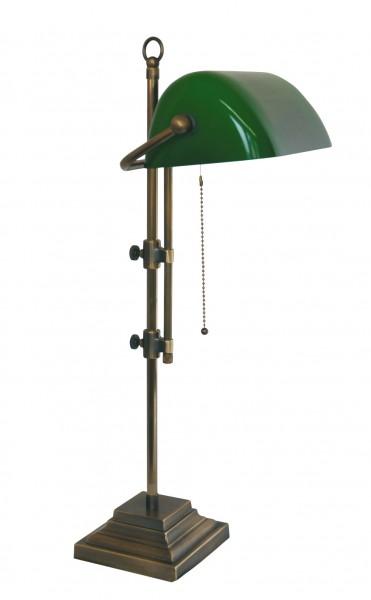 Bankers Lamp / Bankerlampe / Schreibtischleuchte, Landhaus Stil, Messing antik-handpatiniert (Altmessing), Höhe 50 bis 67 cm einstellbar, 230 V, E27 60 W